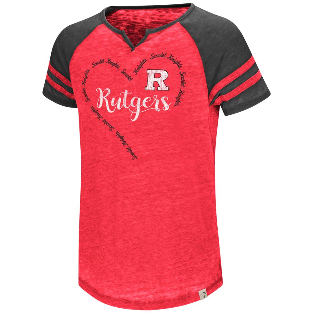 Rutgers University Girl's Shirt Short Sleeve Raglan Tee