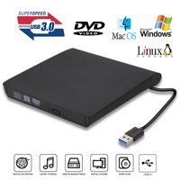 TSV USB 3.0 External DVD Drive, Slim Portable External DVD/CD Rewriter Burner Drive High Speed Data Transfer for Laptop, Notebook, Desktoop