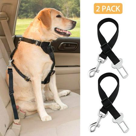 (2 Pack) Pet Seat Belt, EEEkit Dog Cat Car Safety Restraint Adjustable Nylon Fabric Dog Restraints Vehicle Seatbelts