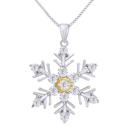 Round Cut White Natural Diamond Snowflake Pendant Necklace in 14k White Gold Over Sterling Silver White Gold Diamond Snowflake Pendant
