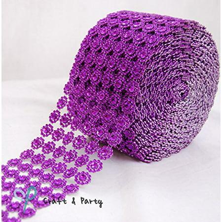 "Diamond Flower Shape Mesh Wrap Roll Faux Rhinestone Crystal Ribbon 4"" x 10 yards (30 ft) … (Purple)"
