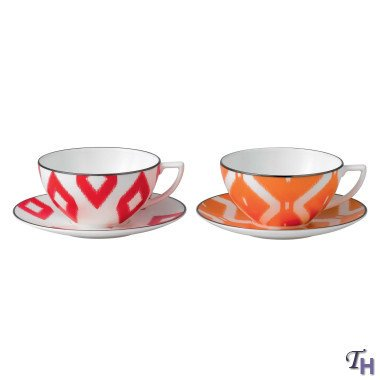 Jasper Conran Cup & Saucer Print  Red and