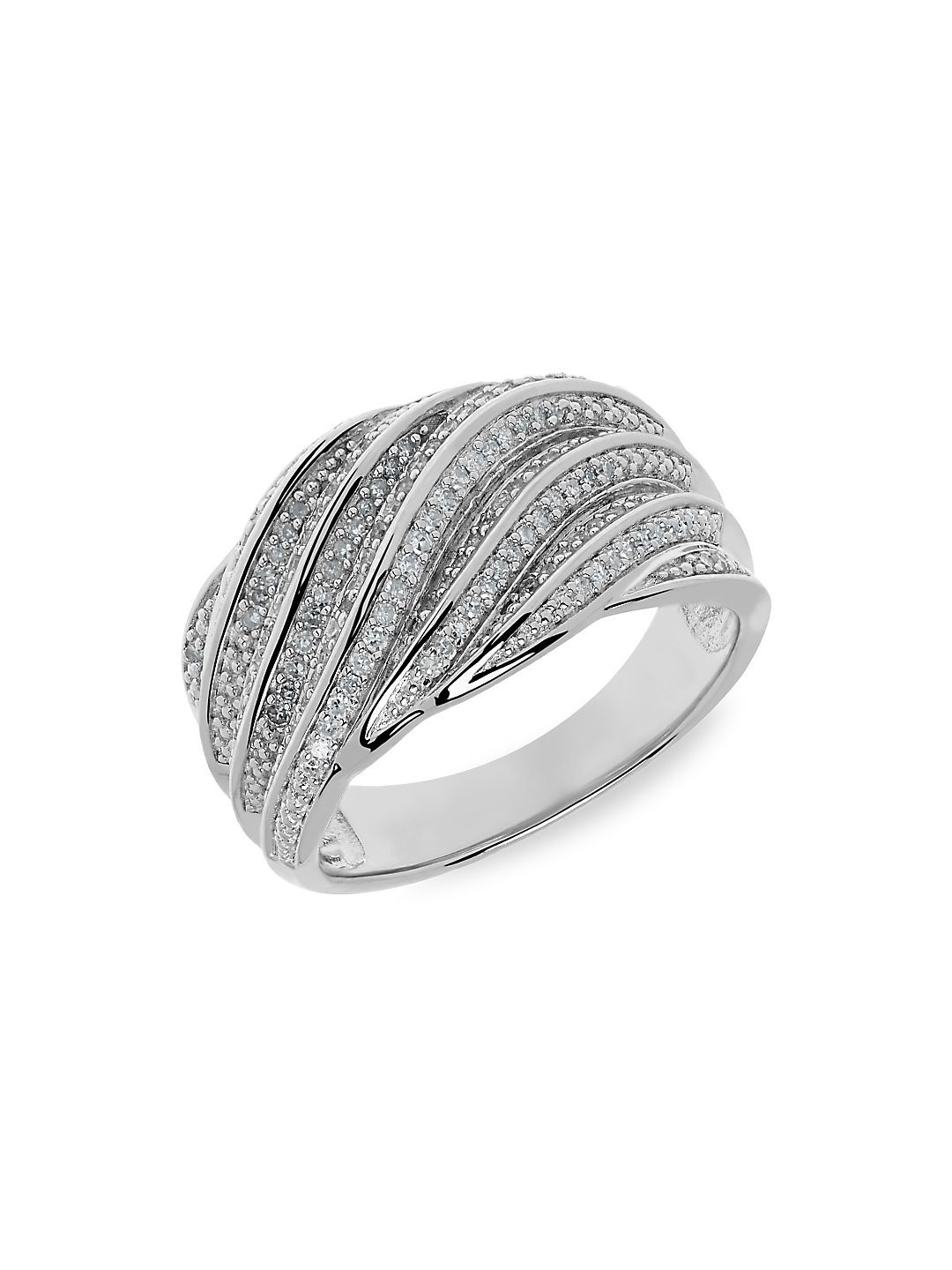 Sterling Silver and Diamond Twisted Ring