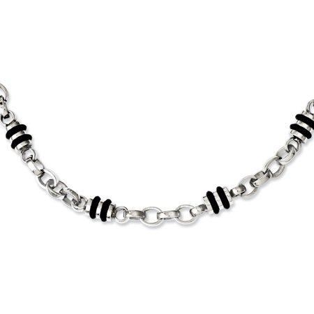 Stainless Steel and Rubber Accent Barrel Link Necklace - 22
