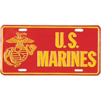 Red - US MARINES License Plate with USMC Emblem