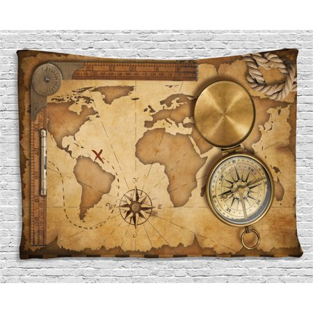 Map Tapestry, Aged Vintage Treasure Map Ruler Rope Old Compass Antique Adventure Discovery, Wall Hanging for Bedroom Living Room Dorm Decor, 60W X 40L Inches, Brown Pale Brown, by Ambesonne