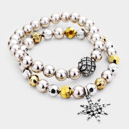 Pave Star Bracelet (2Pcs Pave North Star Ball Pearl Beaded Stretch Bracelets)