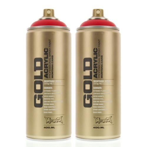 Montana Gold Acrylic Spray Paint Shock Red S3000 - Urban Art - 2 CANS