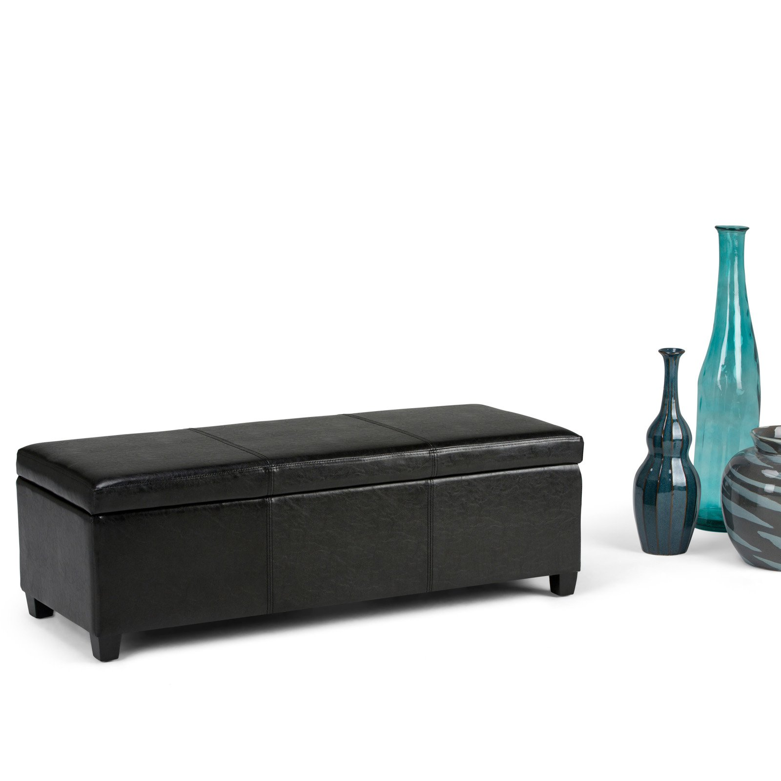 Simpli Home Avalon Large Storage Ottoman Bench   Walmart.com