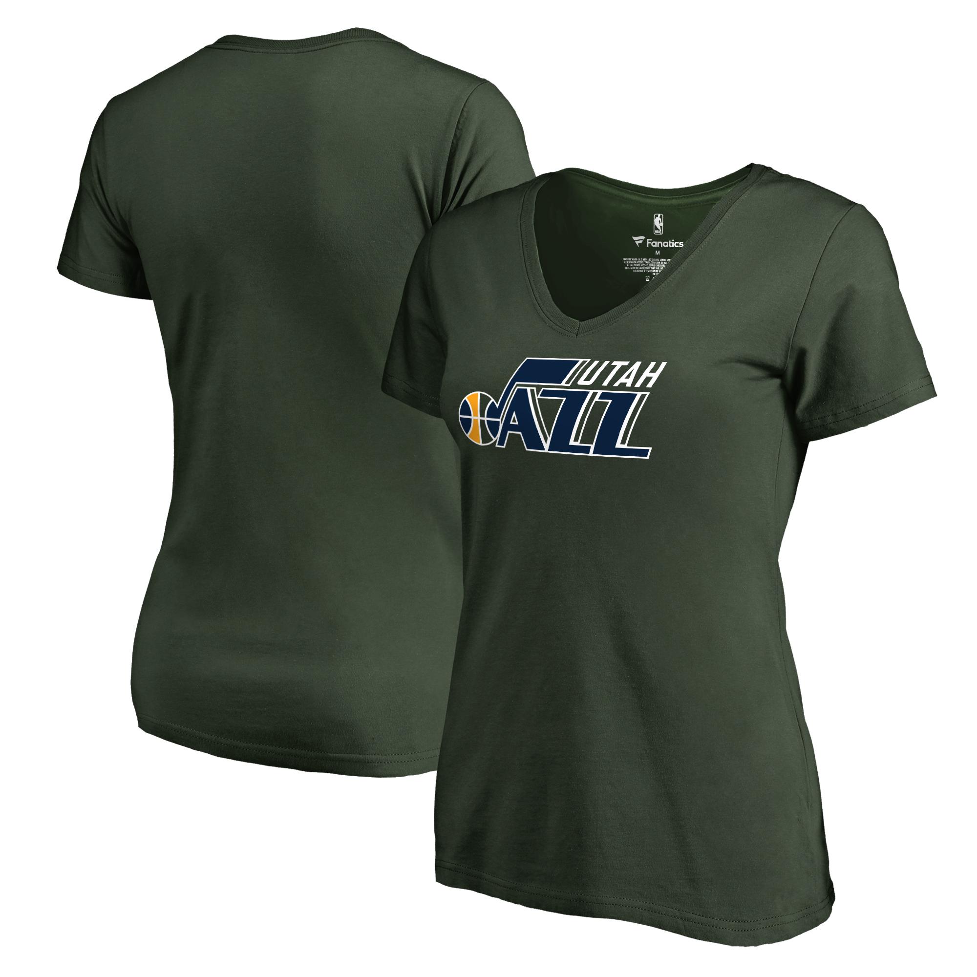 Utah Jazz Fanatics Branded Women's Primary Logo V-Neck T-Shirt - Green