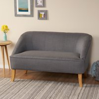 Noble House Janet Mid Century Modern Fabric Loveseat,Dark Grey