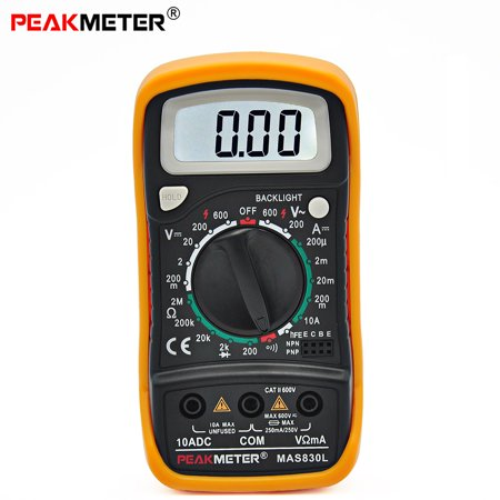 PEAKMETER MAS830L Manual Ranging Digital Multimeter AC DC Voltmeter Ohmmeter Tester with Backlight Display
