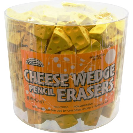 - Cheese Wedge Pencil Erasers Tub of 200