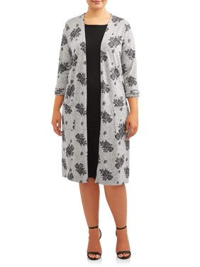 Concepts Women's Plus Size Long Sleeve Duster Cardigan with Pockets