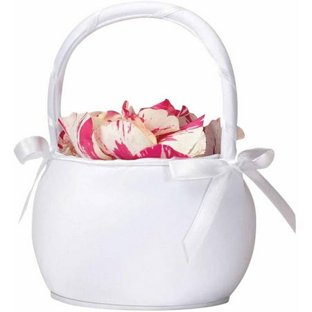 Lillian Rose Round Satin Flower Girl Basket - White (White Flower Girl Basket)