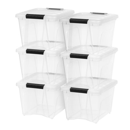 IRIS 19 Quart Stack & Pull™ Box, 6 Pack, Clear with Black Handles