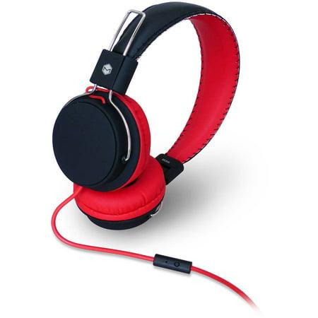 - MQbix MQHT570 Earfoam Layers High-Performance Headphones with Mic - Black/Red