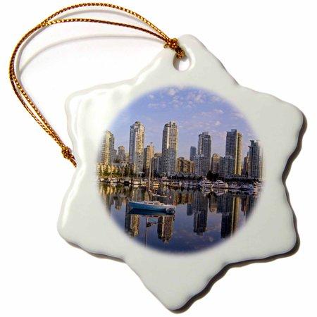 3dRose City Skyline, False Creek, Vancouver, British Columbia -CN02 CHA0006 - Chuck Haney - Snowflake Ornament, 3-inch - Party City Columbia