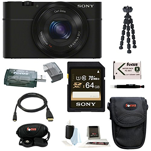 Sony Cyber-shot DSC-RX100 Digital Camera (Black) with 64GB Deluxe Accessory Bundle