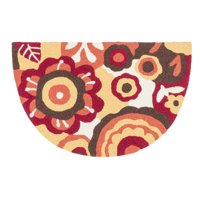"Alexander Home Hand-hooked Marcy Red/ Yellow Blossom Hearth Rug (1'9 x 2'9) - 1'9"" x 2'9"" Hearth"