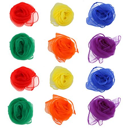 NUOLUX Movement Scarves, Set of 12 Hemmed Square Juggling Dance Scarves (Assorted - Dance Scarves