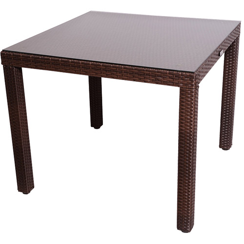 Liberty Outdoor All Weather Wicker Square Table, Brown