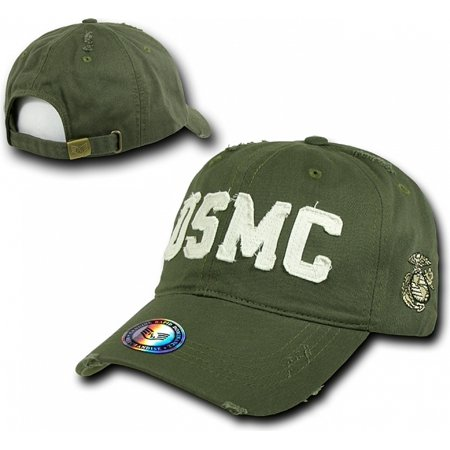 RapDom USMC Southern Cal Distressed Vintage Mens Cap [Olive Green - Adjustable]