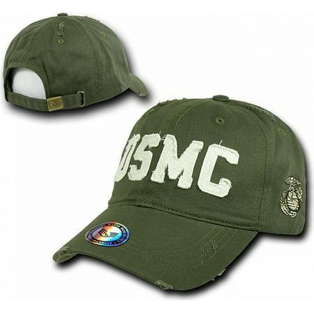 RapDom USMC Southern Cal Distressed Vintage Mens Cap [Olive Green - Adjustable]