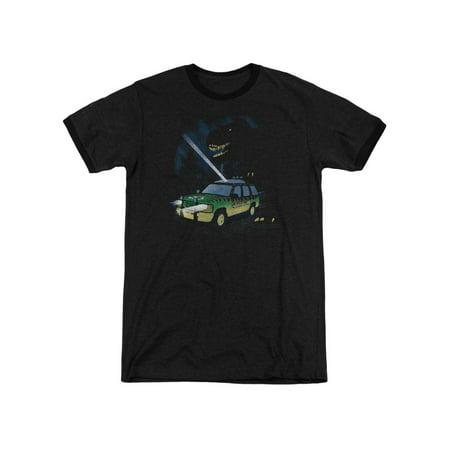 Jurassic Park Dinosaur Thriller Film Turn It Off Adult Ringer T-Shirt