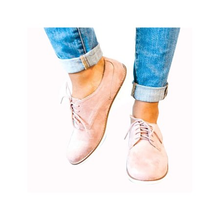 9c4df2a71c Women's Casual Lace Up Oxfords Shoes Flats British Style Autumn Winter  Loafers - Walmart.com