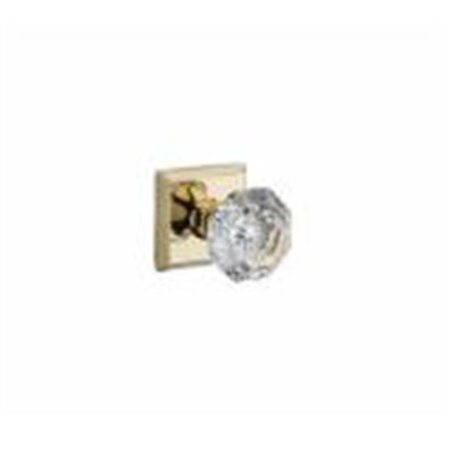 Crystal Passage Door Knob Set with Traditional Square Trim, Polished Brass