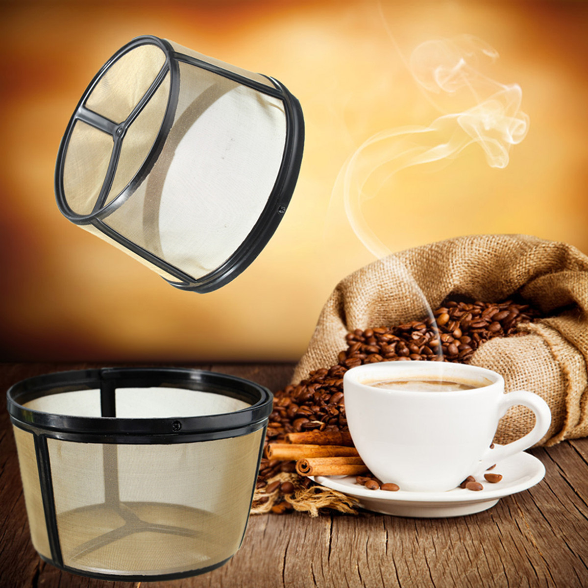 "Permanent Reusable Basket Coffee Filter Fits Coffee Makers 4.7x3.2x2.8"" (Top x Bottom x Height)"