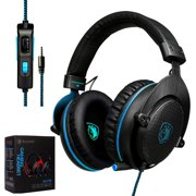 2017 SADES CX-778 PS4 Xbox One 3.5mm Gaming Headset Over-Ear Gaming Headphones With Mic, Volume Control, Noise Cancelling, Headphone Case For PC, Smart Phones, Tablet, Laptops - Black Blue