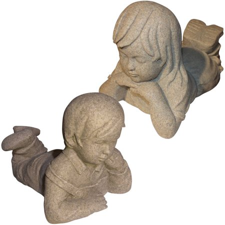 Emsco Group Day Dreaming Boy And Girl Statues   Natural Sandstone Appearance   Made Of Resin   Lightweight   11  Height