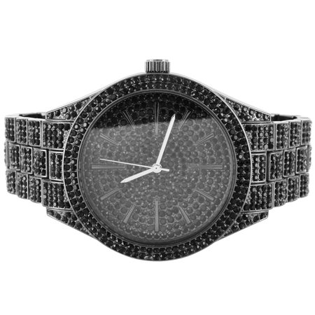 Techno Pave Bling Band Round Black Face Custom Mens Watch