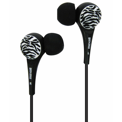 MAXELL 190269 - WTBLACK Wild Things Zebra Earbuds (Black)