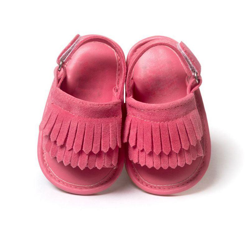 Summer Baby Girls Kids Sandals Tassel Anti-Slip Crib Shoes Soft Sole Hot Sale