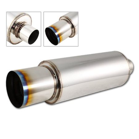 "Univeral 4"" N1 Burnt Tip Stainless Steel Muffler Weld on Exhaust 2.5"" Inlet, Universal fitment: please compare the dimensions of the muffler to installation.., By HK5 From USA"