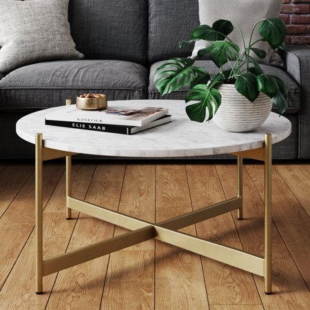 Piper White Faux Marble Gold Brass Metal Frame Round Modern Living Room Coffee Table ()