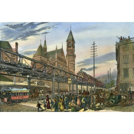 Nyc Elevated Train 1878 Nthe First Train On New York CityS Sixth Avenue Elevated Railway Which Ran From The Battery To Central Park Passing The Jefferson Market Police Court In Greenwich Village On