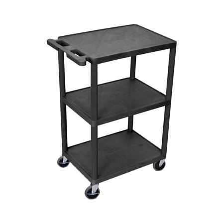 Offex Utility Cart 3 Shelves Structural Foam Plastic