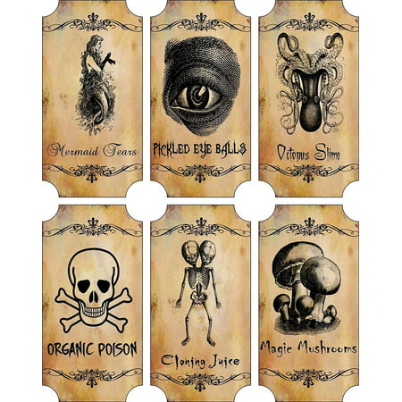 Potion Bottle Sticker Labels Voodoo New Orleans Halloween Pickled Eye Balls Skull, Poison, Mermaid Tears Wine Mardi Gras 6 large bottle label sticke.., By Holidays R Us Ship from US