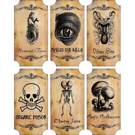 Potion Bottle Sticker Labels Voodoo New Orleans Halloween Pickled Eye Balls Skull, Poison, Mermaid Tears Wine Mardi Gras 6 large bottle label sticke.., By Holidays R Us Ship from US - Halloween Poison Labels