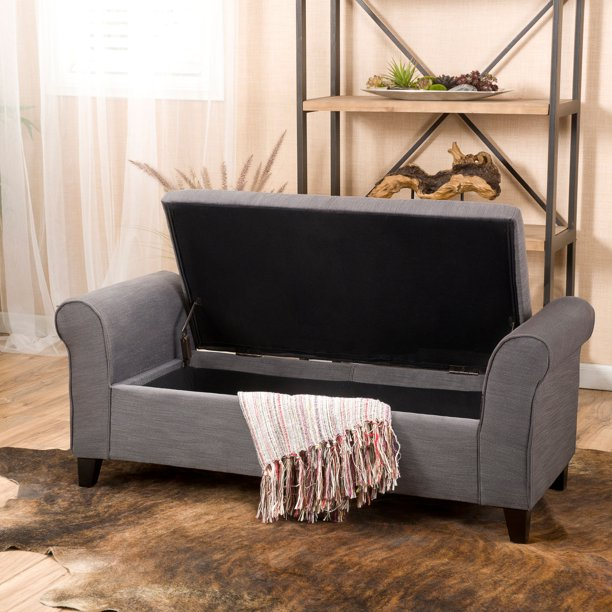Noble House Haden Contemporary Fabric Upholstered Storage Ottoman Bench with Rolled Arms, Gray