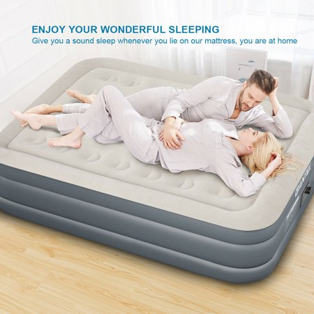 QUEEN SIZE Luxury Raised Air Mattress Inflatable Airbed Built-in Pump Carry Bag - image 9 of 10