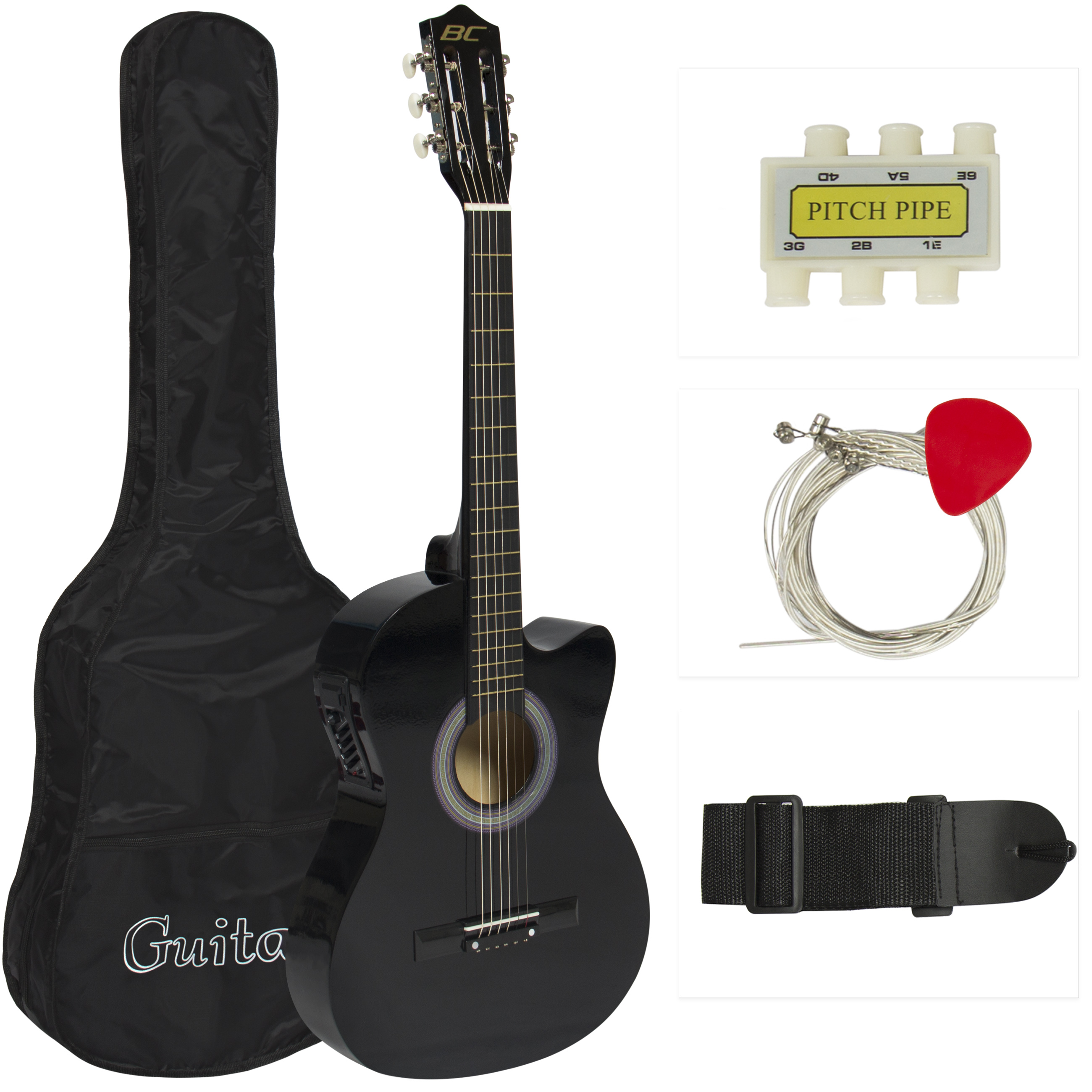 Best Choice Products 38in Beginners Acoustic Cutaway Guitar w/ Case, Extra Strings, Strap, Tuner, and Pick - Black