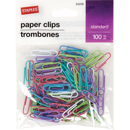 Staples #1 Paperclip 100 PK -Fashion 326977 (Staple Holder Clip)