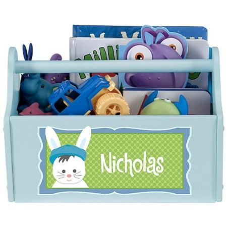 Personalized Boy Bunny Toy Caddy Personalized Toy Bin