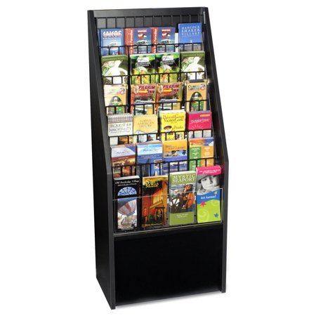 Literature Rack - 12 or 24-Pocket Literature Rack Brochure Holder Stand for Floor - Black Melamine with Wire Pockets (BDI1224BLK)