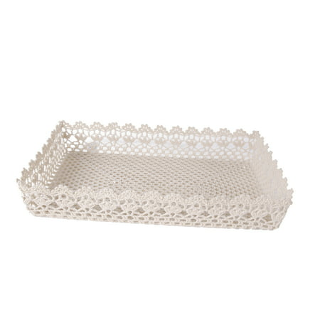 A&B Home Cotton Resin Lace Tray, Beige Beige Round Serving Plate